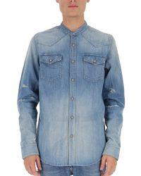Balmain Logo Printed Distressed Denim Shirt - Blue