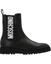 Moschino Logo Printed Boots - Black