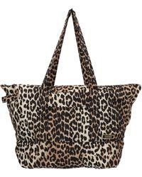 Ganni Leopard Print Shopping Bag - Multicolor