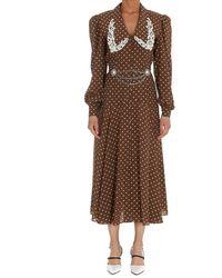 Alessandra Rich Polka-dot Printed Midi Dress - Brown