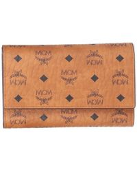 MCM Visetos Fold Wallet - Brown