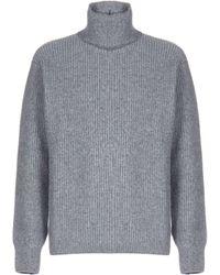 Maison Kitsuné Turtleneck Ribbed Knit Sweater - Gray