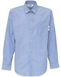 MSGM Logo Printed Striped Shirt - Blue