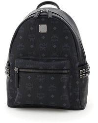 MCM Stark Visetos Backpack With Side Studs - Black