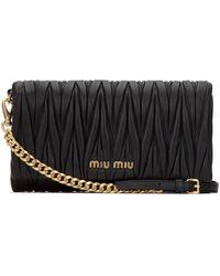 Miu Miu Matelassé Chain Strap Clutch - Black