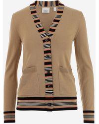 Burberry Icon Stripe V-neck Cardigan - Natural