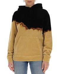 Saint Laurent Burnt Dip-dye Velvet Hoodie - Multicolour