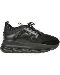 Versace Chain Reaction Leather And Mesh Sneakers - Black