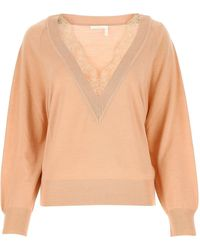 Chloé V-neck Knitted Jumper - Pink