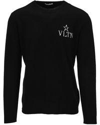 Valentino Vltn Star Sweater - Black