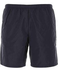 Prada Logo Patch Swim Shorts - Blue