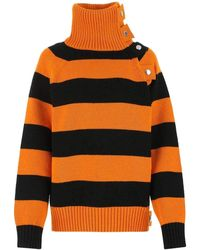Burberry Embroidered Cotton Blend Sweater Nd - Orange
