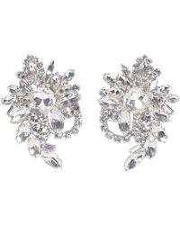 Alessandra Rich Crystal Flower Clip-on Earrings - Metallic