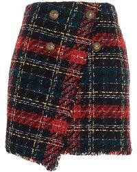 Balmain Tartan Tweed Wrap Skirt - Multicolour