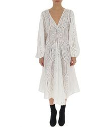 Ganni Broderie Anglaise Flared Dress - White