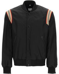 Burberry Bomber With Stripe Motif M Technical - Black