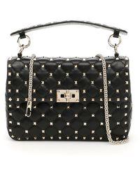 Valentino Garavani Garavani Rockstud Spike Medium Leather Shoulder Bag - Black
