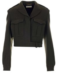 Saint Laurent Gabardine Army Jacket - Green