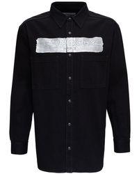 Givenchy Denim Shirt With Metallic Logo - Black