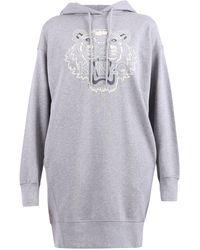 KENZO Tiger Flock Hooded Sweatshirt Dress - Grey