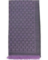 Gucci GG Jacquard Scarf - Purple