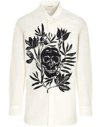 Alexander McQueen Skull Floral Printed Shirt - White