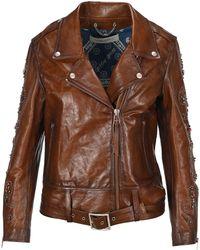 Golden Goose Deluxe Brand Embellished Biker Jacket - Brown