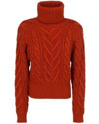 Dolce & Gabbana Turtleneck Cable-knit Jumper - Red