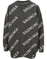 Balenciaga Logo Knitted Sweater - Gray