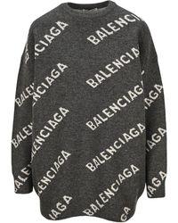 Balenciaga Logo Knitted Sweater - Grey