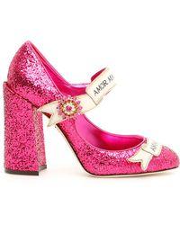 Dolce & Gabbana - Slogan Glitter Mary Janes - Lyst