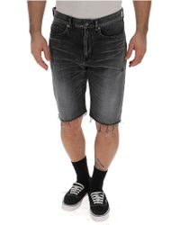 Saint Laurent Fray Detail Shorts - Black