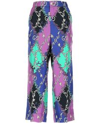 Gucci Printed Cropped Pants - Multicolour