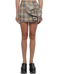 Area Heart-bow Chequered Mini Skirt - Multicolour