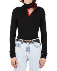 Y. Project Y/proect Double Neck Knit Polo Jumper - Black