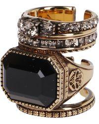 Alexander McQueen Jeweled Stacked Ring - Metallic