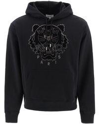 KENZO Tiger Embroidered Hoodie - Black