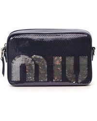 Lyst - Miu Miu Star-print Canvas And Leather Cross-body Bag in Blue c425da41ccfa0