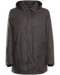 Herno Hooded Zip-up Carcoat - Grey