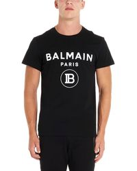 Balmain Flocked Logo T-shirt - Black