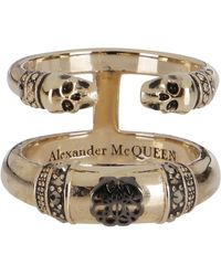 Alexander McQueen Skull And Charm Double-band Ring - Metallic