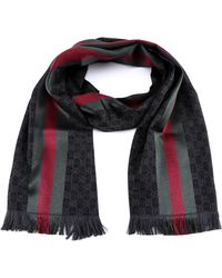 bab1e4d4 Gucci Crook Knit Striped Scarf in Black for Men - Lyst