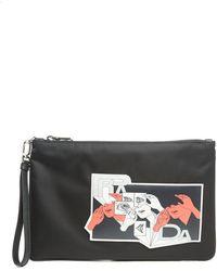 Prada - Comic Print Clutch Bag - Lyst