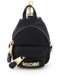 Moschino Micro Chained Backpack Crossbody Bag - Black