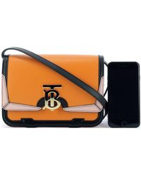 Burberry Tb Panelled Cross Body Bag - Orange