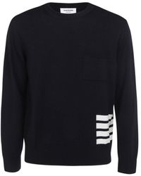 Thom Browne 4-bar Crewneck Sweater - Blue