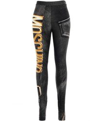 Moschino Biker-style Graphic-print leggings - Black