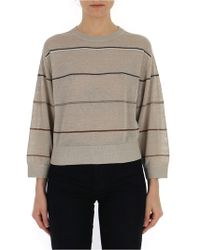 Brunello Cucinelli Striped Sweater - Gray