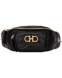 Ferragamo Gancini Quilted Belt Bag - Black