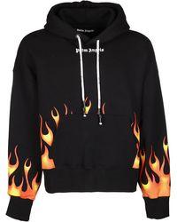 Palm Angels Flame Logo Printed Hoodie - Black